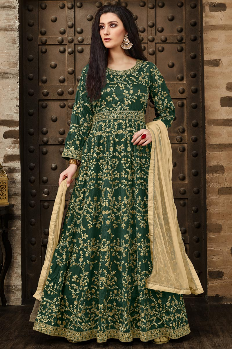 Taffeta Silk Embroidered Dark Green Designer Floor Length Anarkali Dress