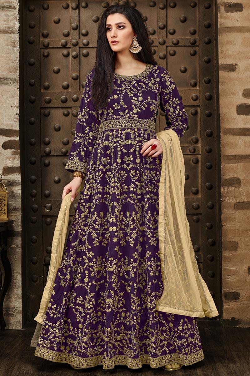 Fancy Taffeta Silk Designer Purple Floor Length Embroidered Anarkali Suit