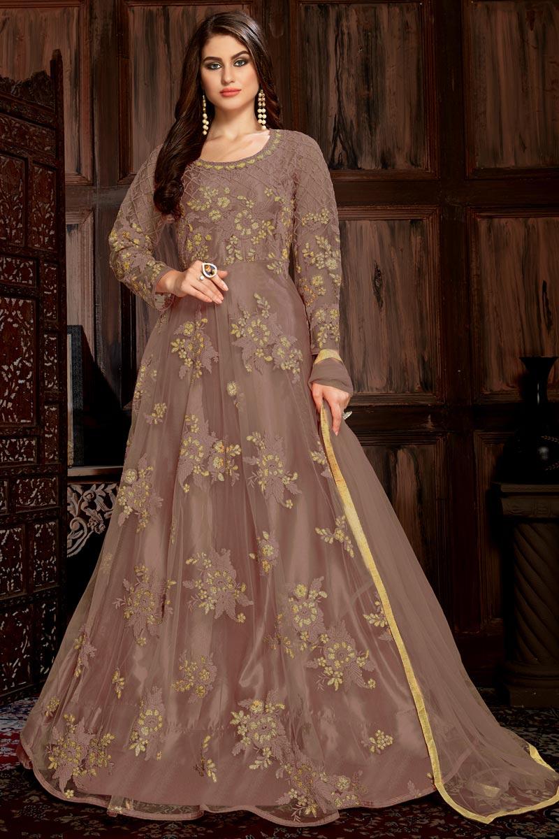 Brown Party Wear Long Anarkali Dress In Net Fabric