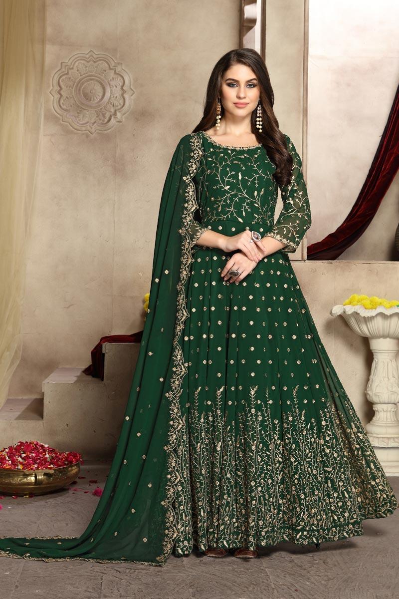 Eid Special Fancy Festive Wear Dark Green Georgette Embroidered Anarkali Dress
