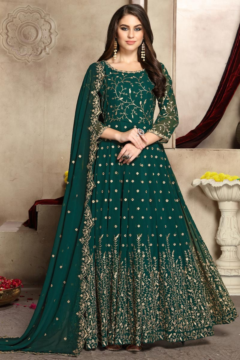 Eid Special Teal Festive Wear Fancy Embroidered Anarkali Suit In Georgette