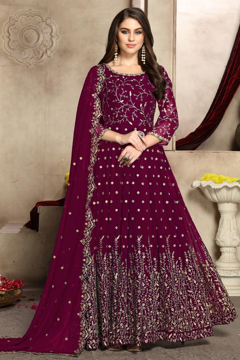 Eid Special Festive Wear Georgette Fancy Embroidered Anarkali Suit In Burgundy Color
