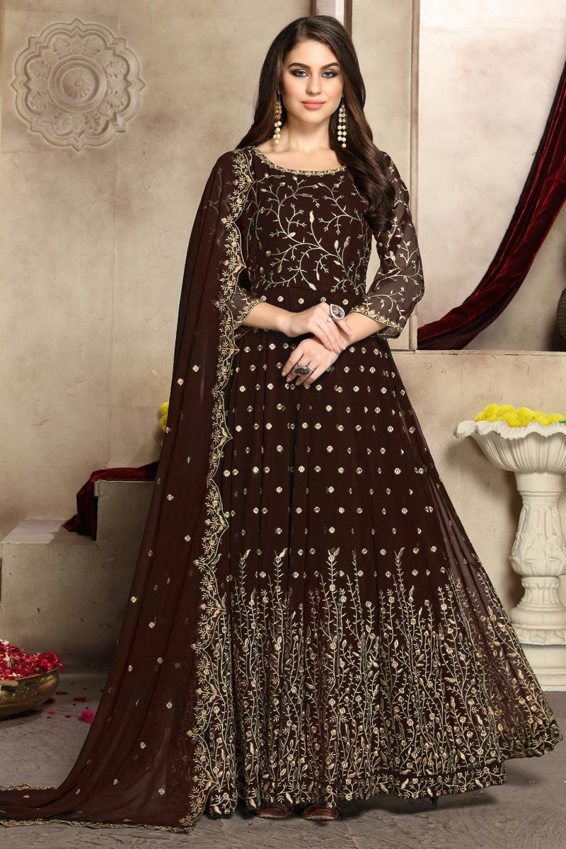 Festive Wear Georgette Fancy Embroidered Anarkali Suit In Brown