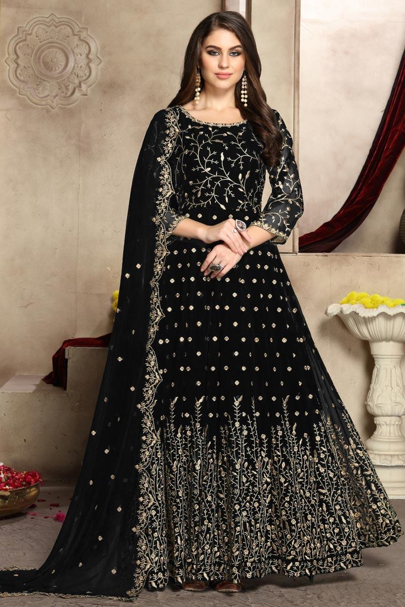 Eid Special Black Festive Wear Fancy Embroidered Anarkali Suit In Georgette