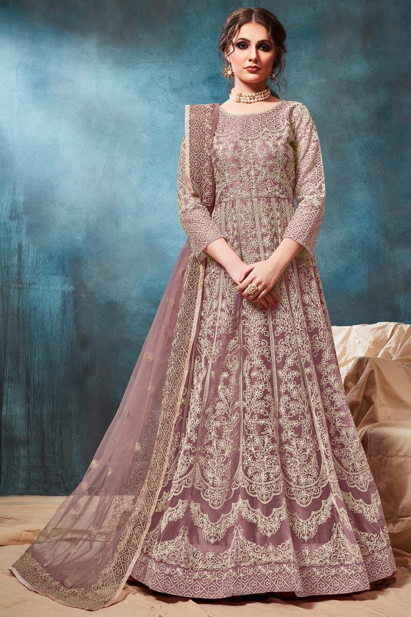 Net Fabric Party Style Embroidered Designer Anarkali Salwar Suit In Lavender Color