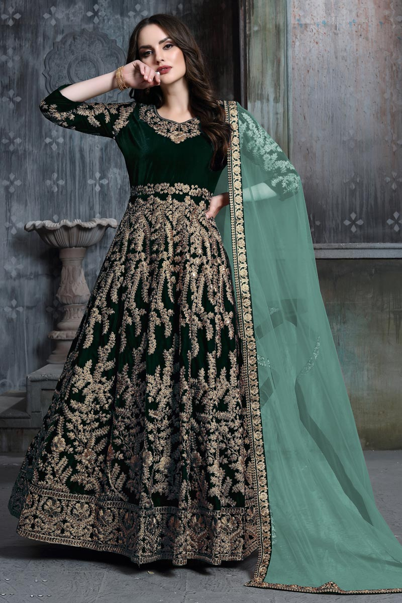 Function Wear Velvet Fabric Embroidered Long Length Anarkali Suit In Dark Green