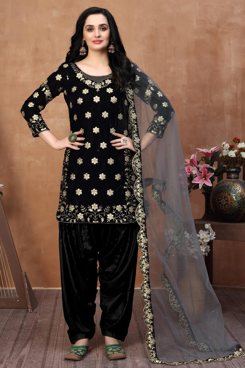 Embroidered Velvet Fabric Black Color Function Wear Patiala Suit
