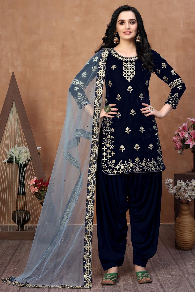 Navy Blue Color Velvet Fabric Occasion Wear Patiala Suit