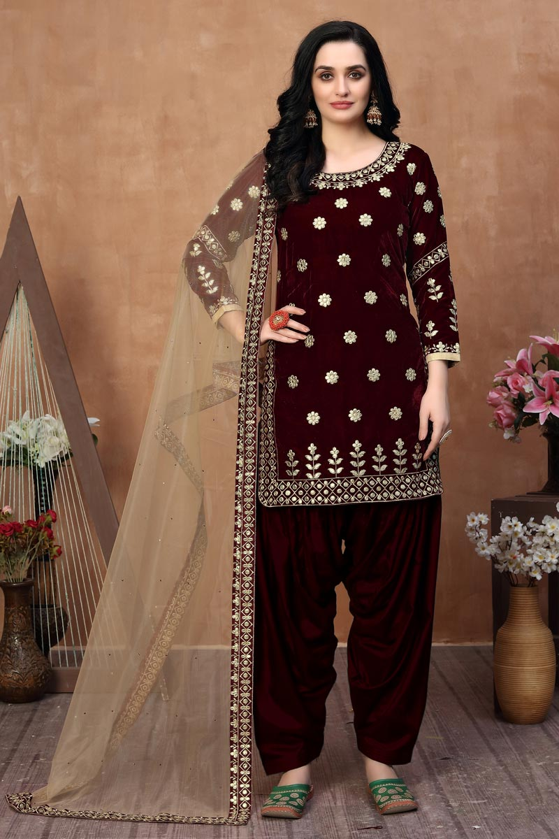 Party Wear Embroidered Patiala Suit