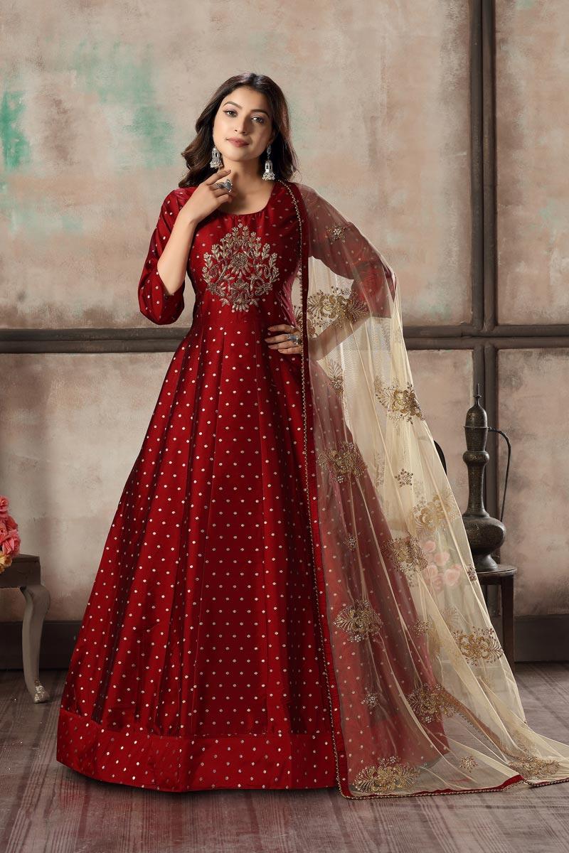 Sangeet Wear Elegant Art Silk Embroidered Red Color Readymade Anarkali Dress