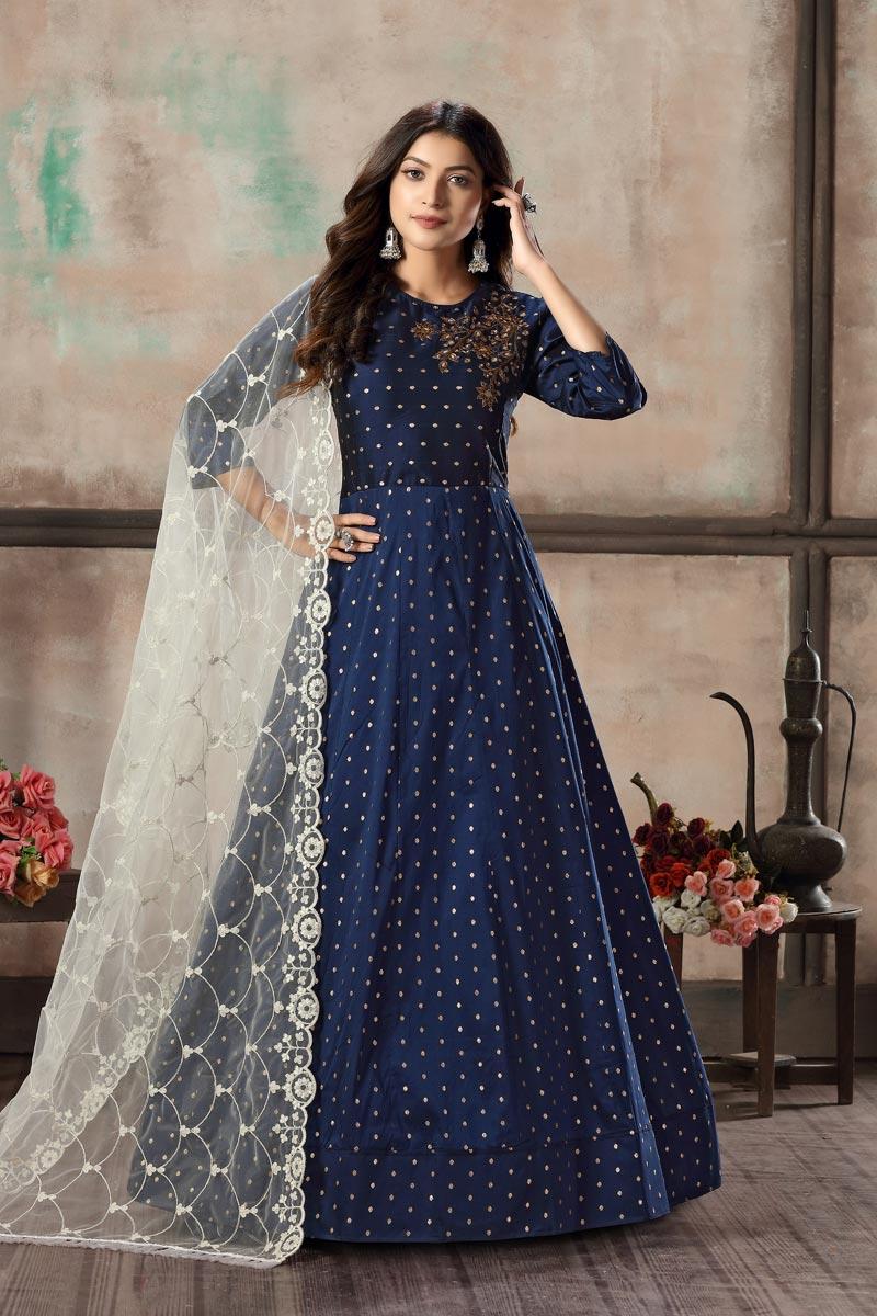 Sangeet Wear Elegant Art Silk Embroidered Readymade Anarkali Suit In Navy Blue Color