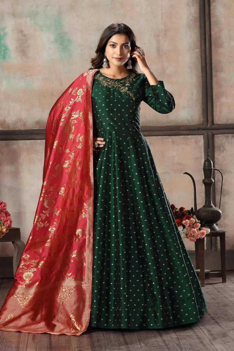 Elegant Dark Green Color Sangeet Wear Embroidered Readymade Anarkali Suit In Art Silk