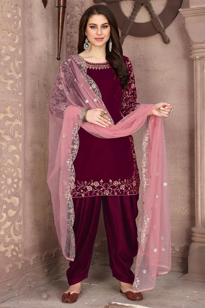 Wine Color Velvet Fabric Embroidery Work Function Wear Fancy Patiala Salwar Suit
