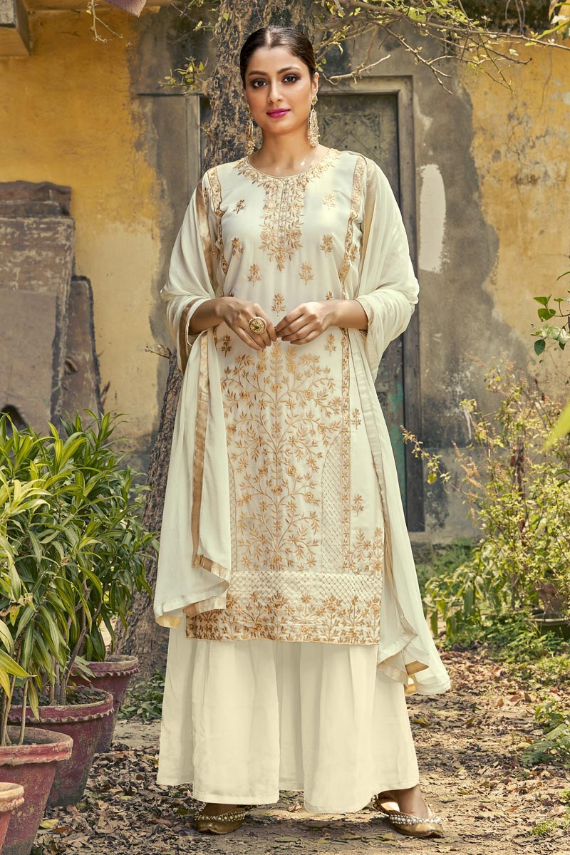 Off White Color Festive Wear Georgette Fabric Fancy Embroidered Palazzo Dress