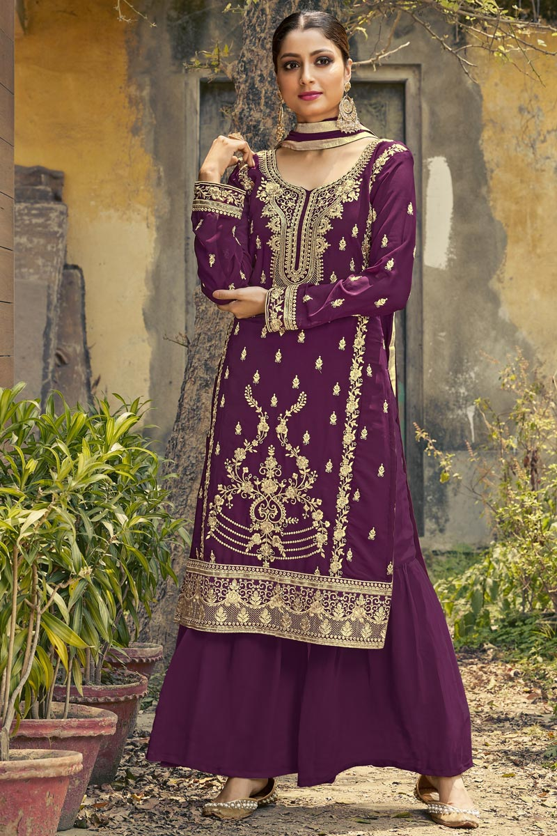 Festive Wear Fancy Georgette Fabric Embroidered Palazzo Suit In Purple Color
