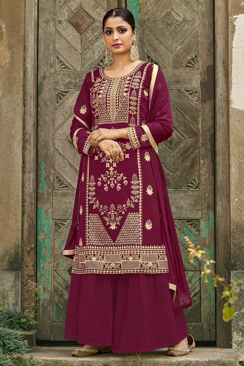 Burgundy Color Festive Wear Fancy Embroidered Palazzo Dress In Georgette Fabric