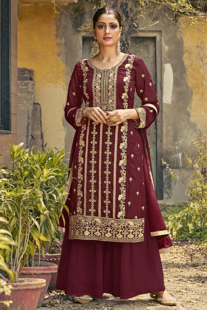 Festive Wear Maroon Color Fancy Embroidered Palazzo Suit In Georgette Fabric