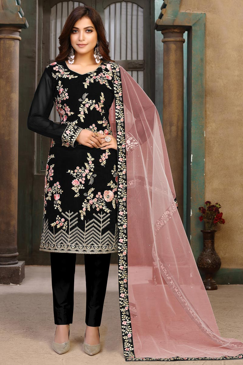 Georgette Fabric Party Wear Embroidered Salwar Suit In Black Color