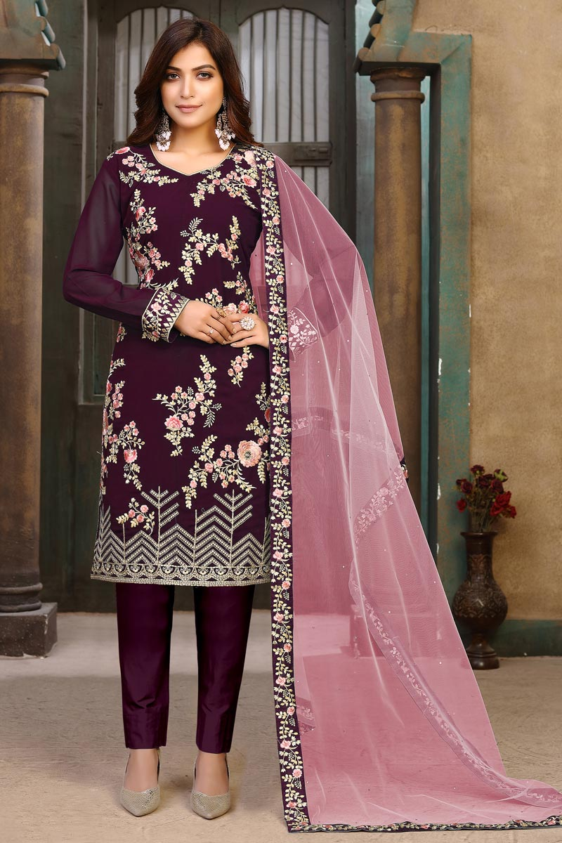 Function Wear Georgette Fabric Purple Color Embroidered Salwar Suit