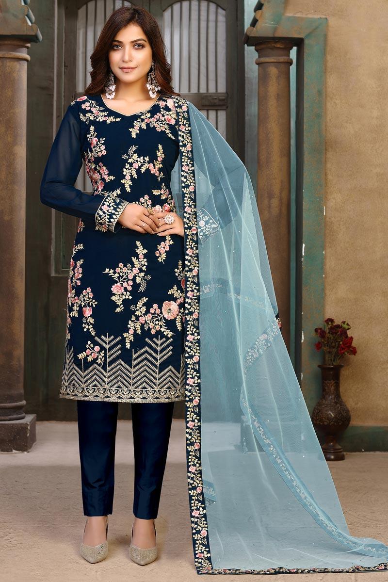 Navy Blue Color Festive Wear Embroidered Georgette Fabric Salwar Suit