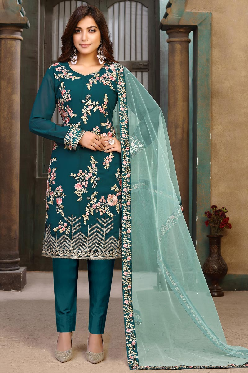 Teal Color Party Style Embroidered Georgette Fabric Salwar Suit