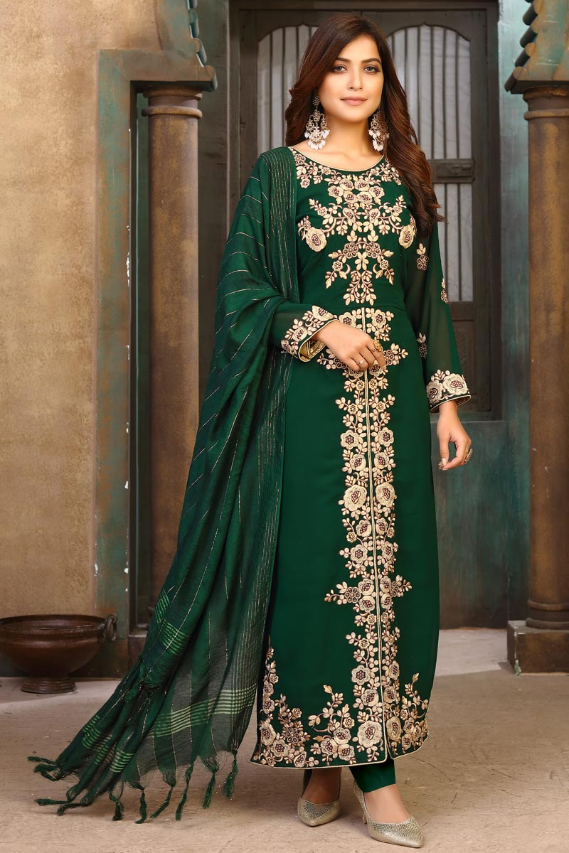 Georgette Party Wear Embroidered Long Straight Cut Suit In Dark Green Color