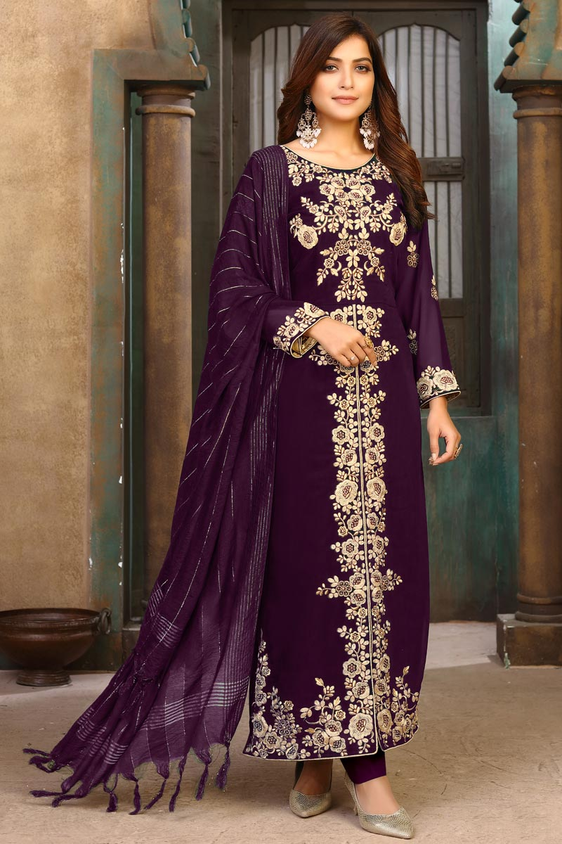 Party Wear Purple Color Embroidered Long Straight Cut Georgette Dress