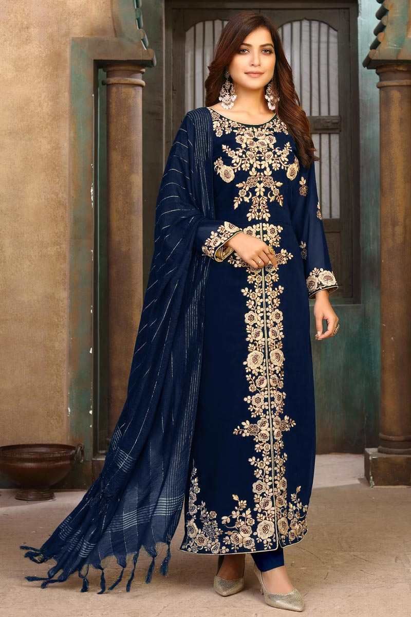 Party Wear Navy Blue Color Embroidered Long Straight Cut Suit In Georgette