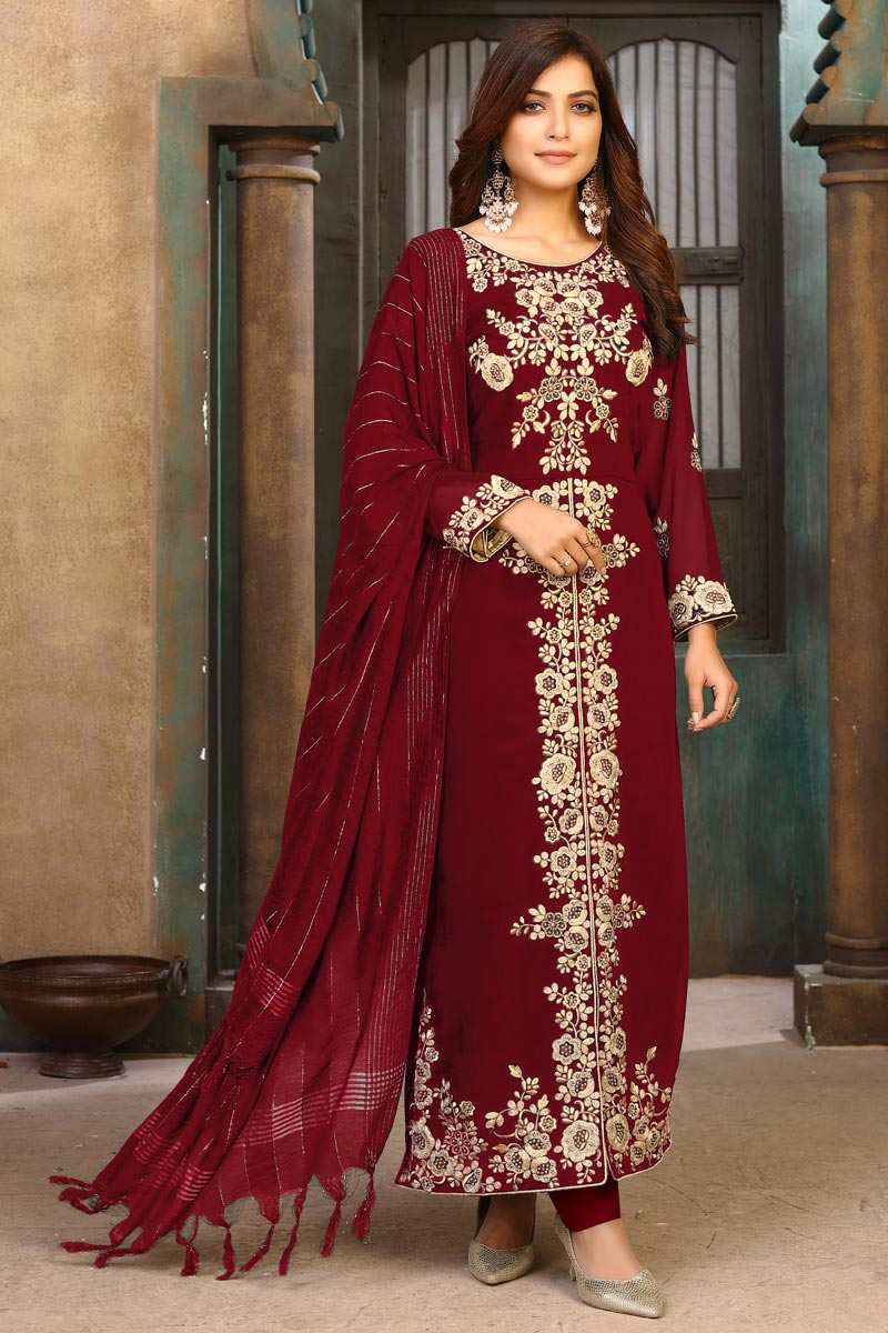 Maroon Color Party Wear Embroidered Georgette Long Straight Cut Dress
