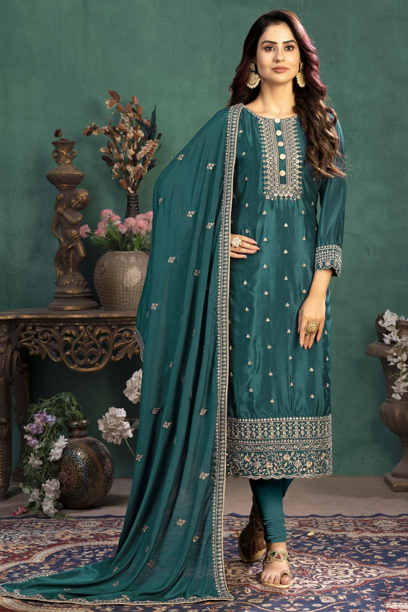 Art Silk Fabric Festive Wear Embroidered Straight Cut Suit In Teal Color