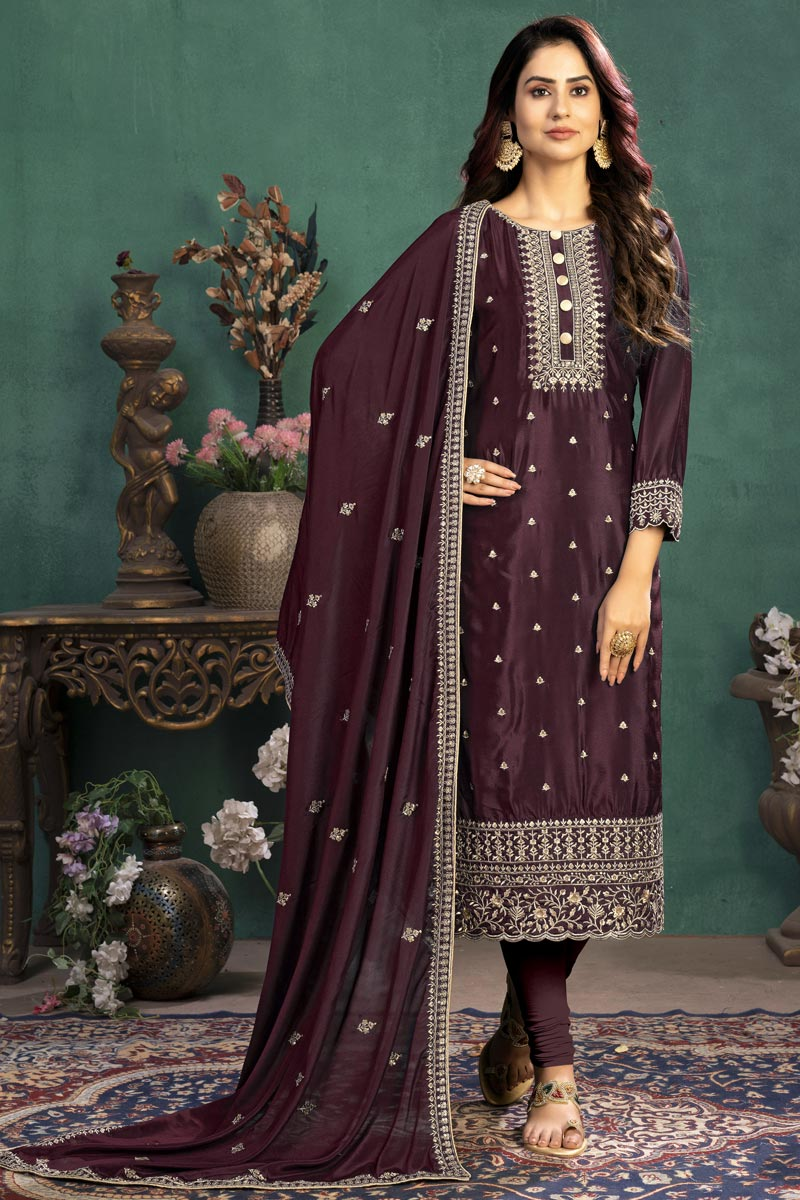 Brown Color Festive Wear Embroidered Straight Cut Suit In Art Silk Fabric
