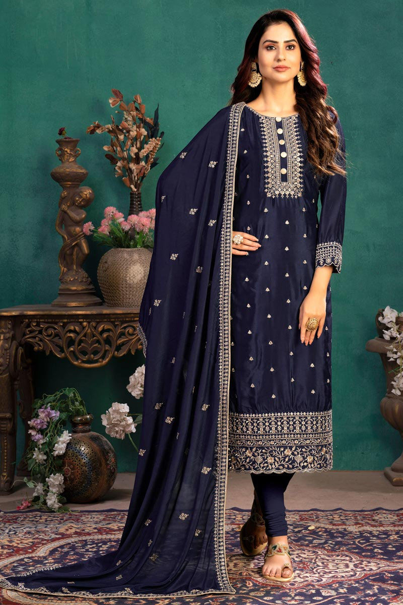 Festive Wear Navy Blue Color Embroidered Straight Cut Suit In Art Silk Fabric