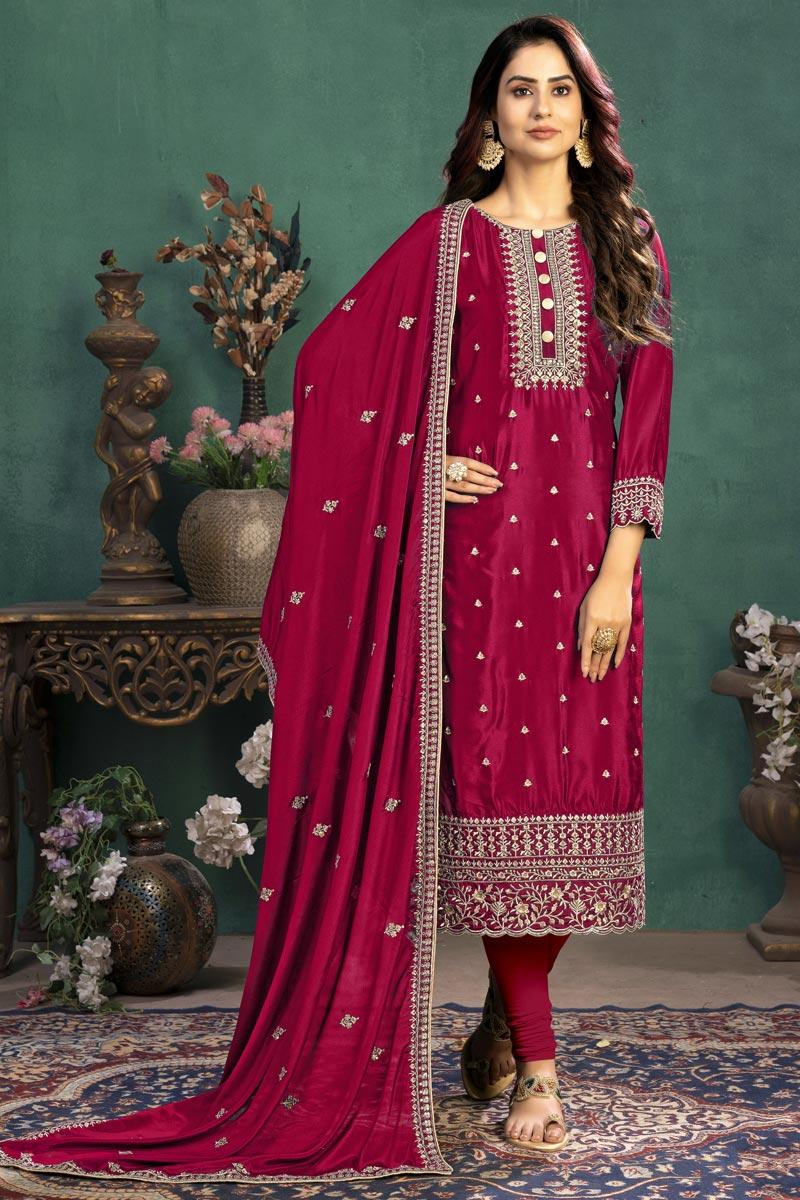 Rani Color Festive Wear Embroidered Art Silk Fabric Straight Cut Dress