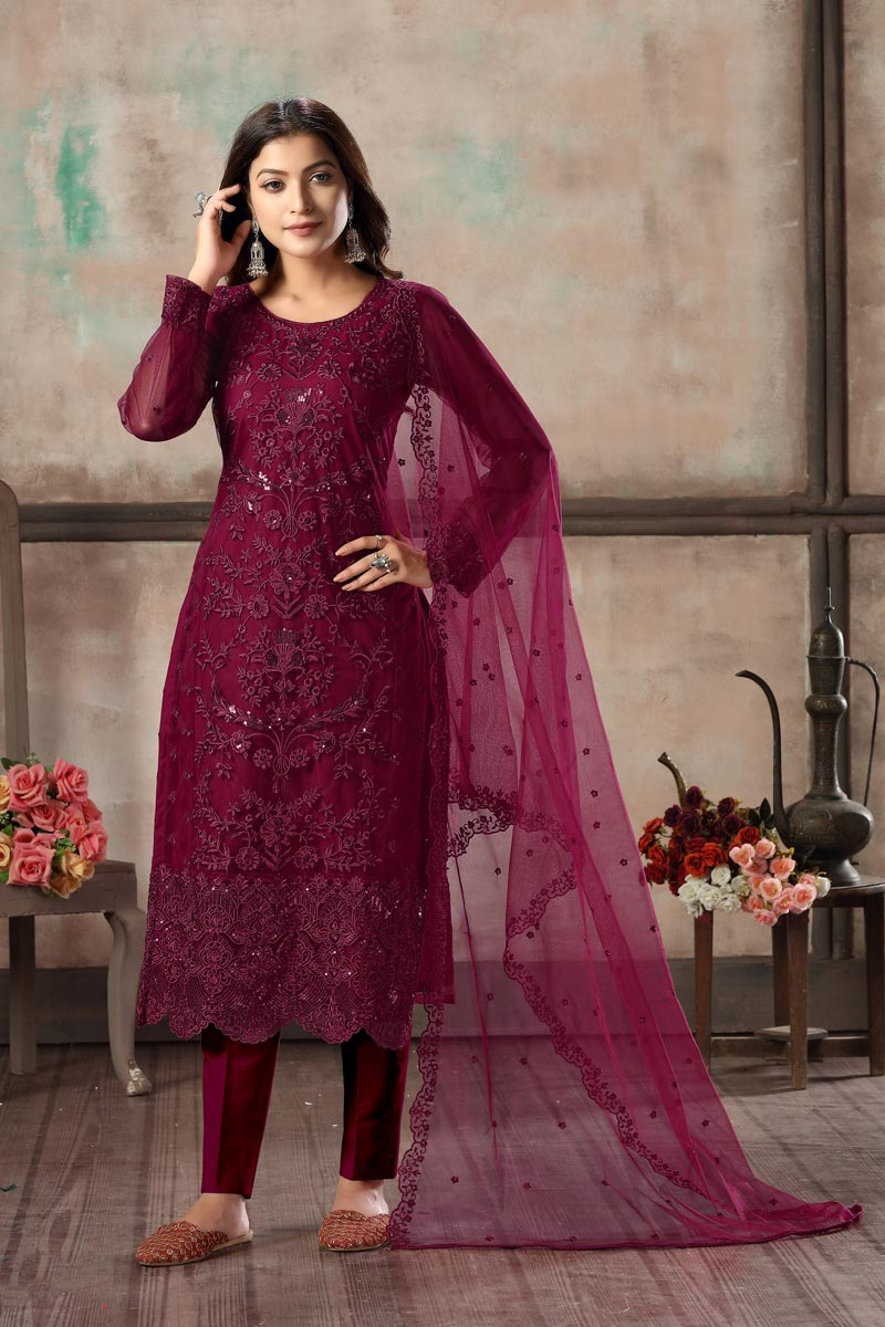 Burgundy Color Festive Wear Classy Embroidered Net Fabric Straight Cut Dress
