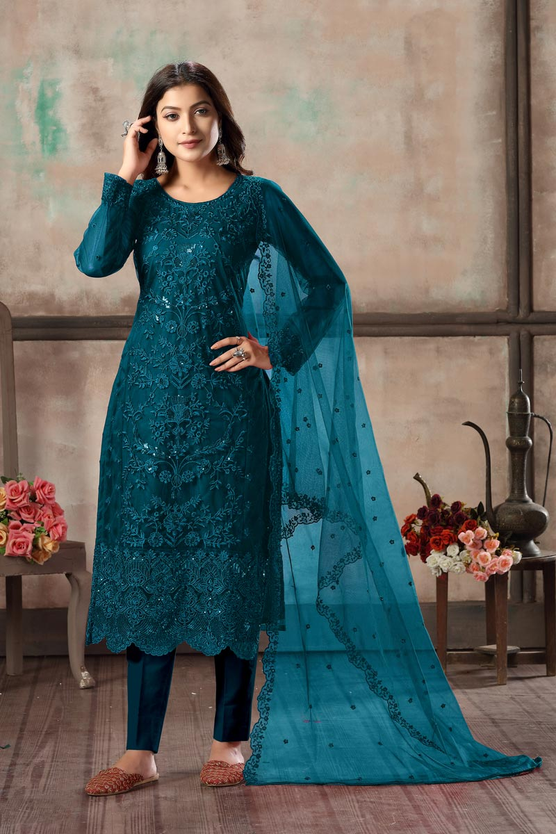 Teal Color Festive Wear Classy Embroidered Straight Cut Suit In Net Fabric