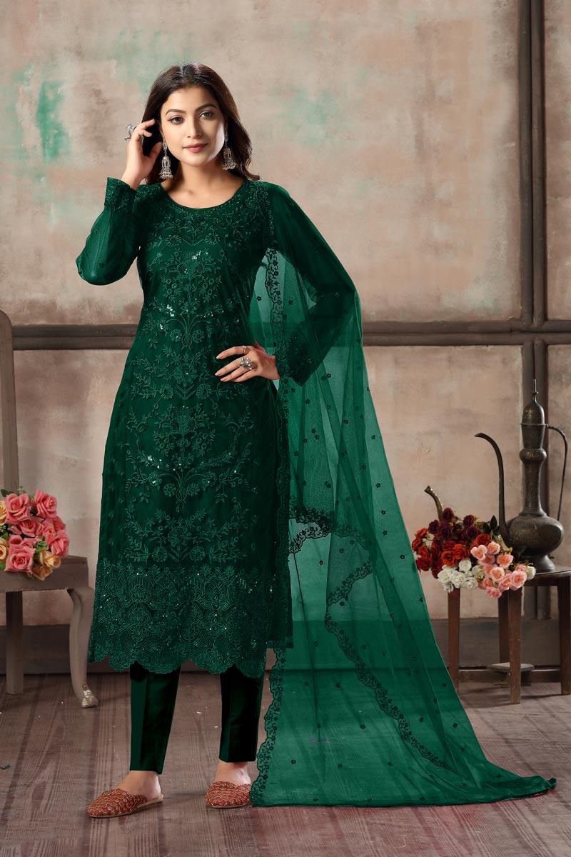 Festive Wear Dark Green Color Net Fabric Classy Embroidered Straight Cut Dress