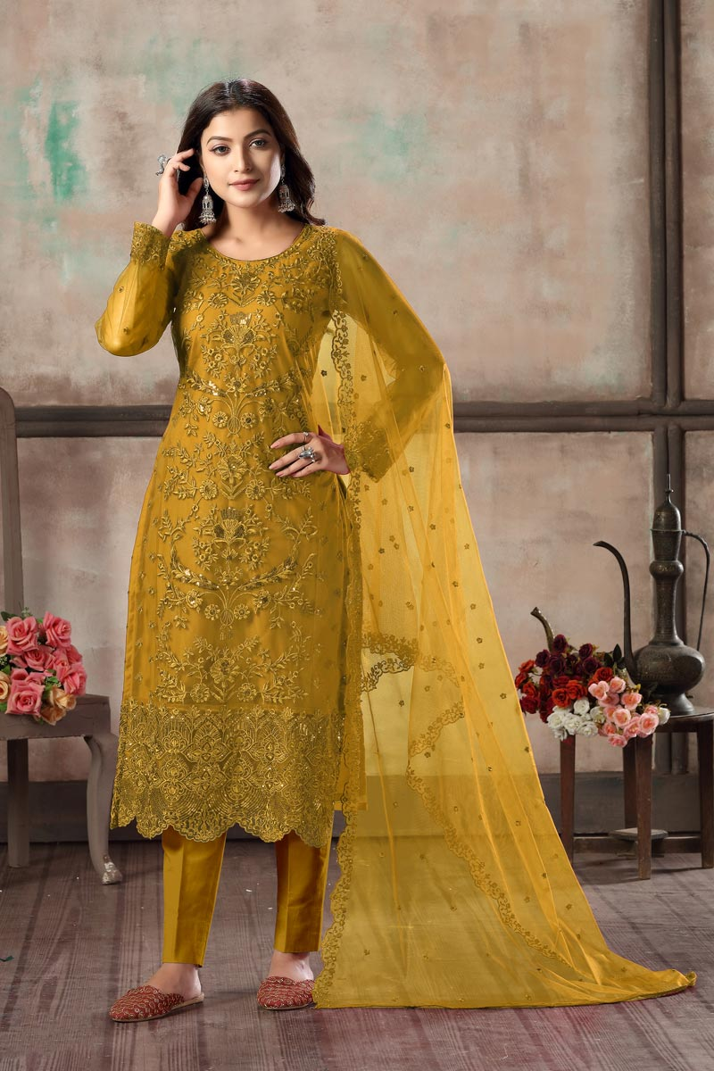 Net Fabric Festive Wear Classy Embroidered Straight Cut Suit In Mustard Color