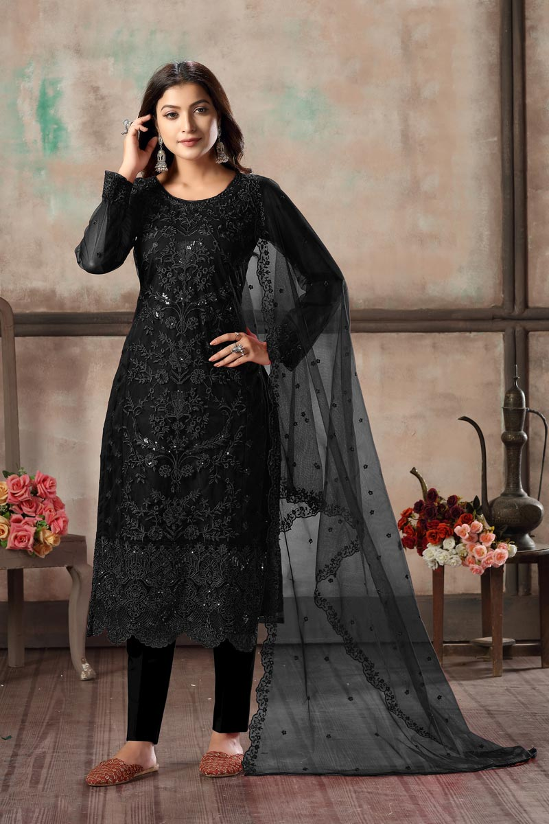 Casual Wear Black Color Net Fabric Embroidered Straight Cut Suit