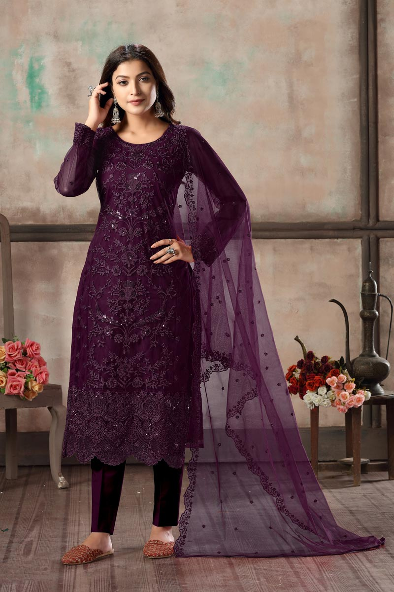 Casual Wear Net Fabric Embroidered Straight Cut Dress In Purple Color