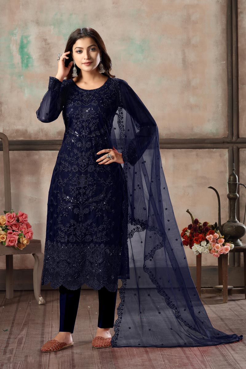 Casual Wear Net Fabric Embroidered Navy Blue Color Straight Cut Suit