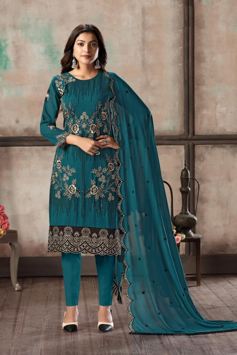 Festive Wear Teal Color Embroidered Straight Cut Suit In Georgette Fabric