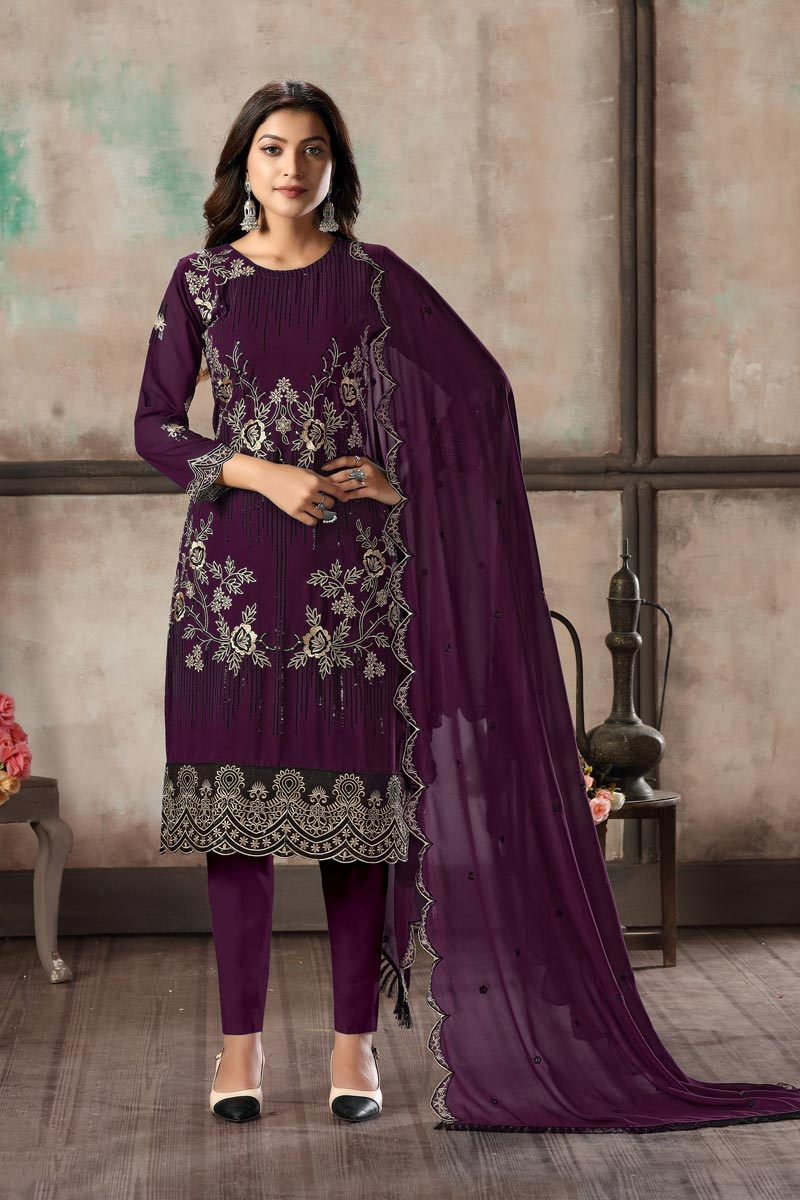 Festive Wear Georgette Fabric Embroidered Straight Cut Dress In Purple Color