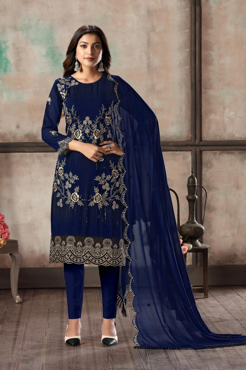 Navy Blue Color Georgette Fabric Festive Wear Embroidered Straight Cut Suit