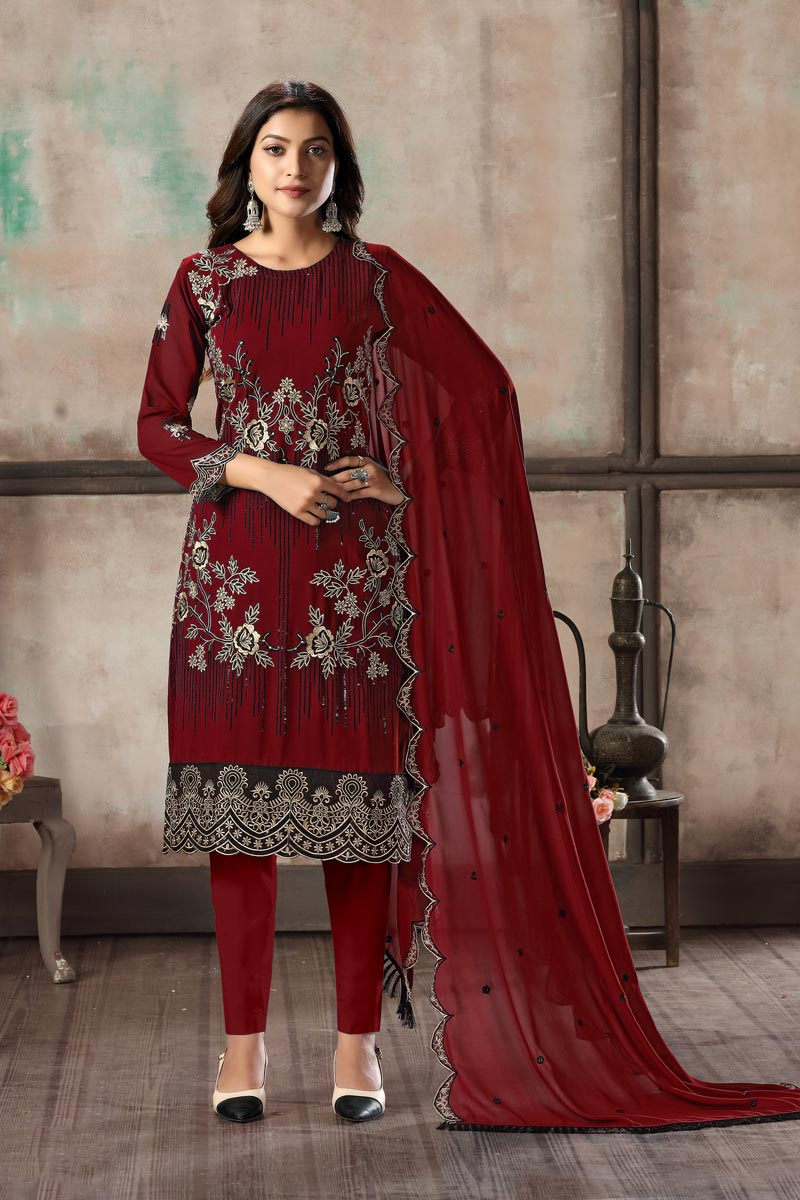 Georgette Fabric Festive Wear Embroidered Maroon Color Straight Cut Dress