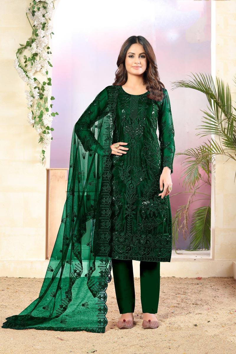 Festive Wear Fancy Net Fabric Embroidered Straight Cut Dress In Dark Green Color
