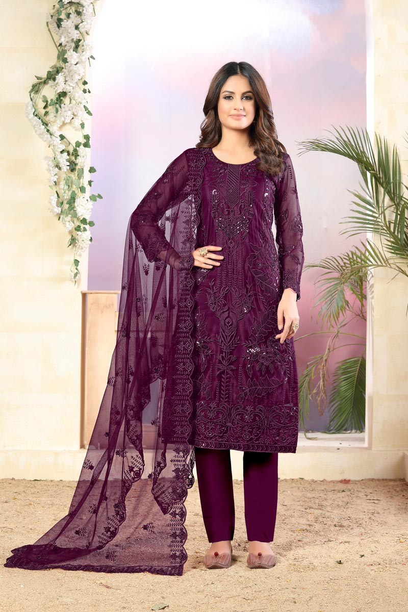 Fancy Purple Color Net Fabric Festive Wear Embroidered Straight Cut Suit