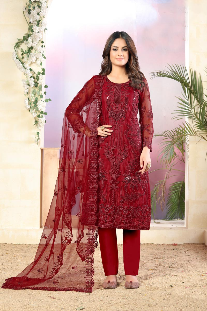 Festive Wear Red Color Fancy Net Fabric Embroidered Straight Cut Suit