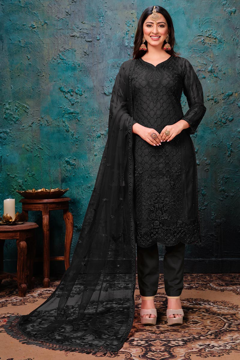Black Color Embroidered Salwar Kameez