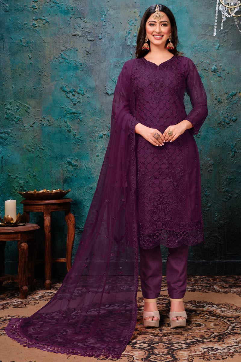 Net Fabric Party Wear Salwar Suit