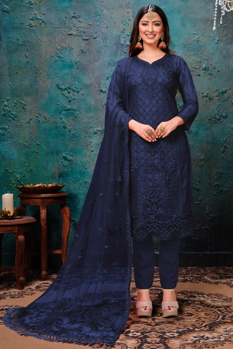 Navy Blue Color Net Fabric Function Wear Embroidered Suit